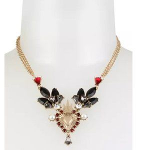 Betsey Johnson Crowned Heart Statement Necklace